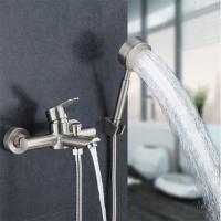 不锈钢淋浴花洒套装浴室暗装三联浴缸冷热水龙头拉丝混水阀